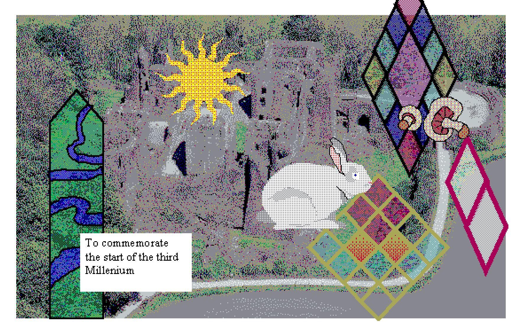 to commemorate the start of the third millenium, the bunny approaches the mushrooms in the church yard. the sun shines down on stained glass.